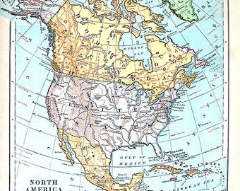 Map of North America - Political Map - 1899 Antique Map  - Antique World Atlas Map - 12 x 10