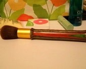 Makeup Cosmetic Blush Brush, Handmade on Wood Lathe, Laminated Wood with Red, Green and Brown Tones
