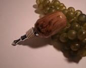 Hand Turned on Wood Lathe Cherry Burl Wine Bottle Stopper, Beautiful Wood Grain, Barware