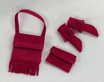 """for 11.5"""" fashion dolls  Suede Leather Purses and moccasins  - cranberry pink"""