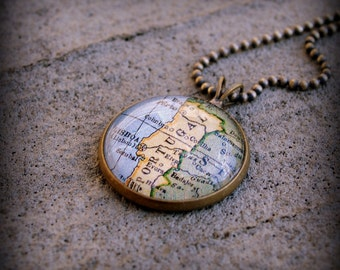 Portugal Map Necklace