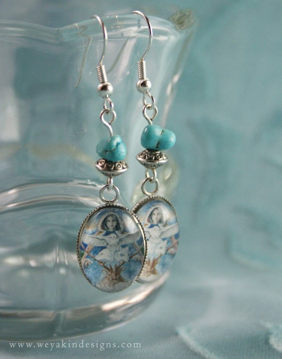 Mother Winter Original Art Earrings, Glass Cabochon and Art Print Native American Style Earrings with Turquoise.