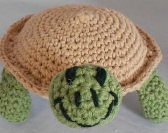 Turtle Stuffed Animal Amigurumi Turtle Plush Turtle in Tan and Green Cotton Crochet
