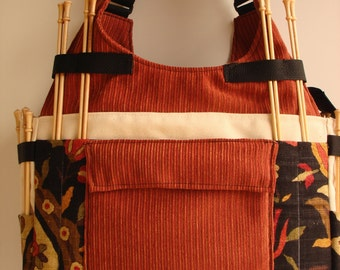 Two Pocket Large Knitting/Crochet Tote Bag- JAVA
