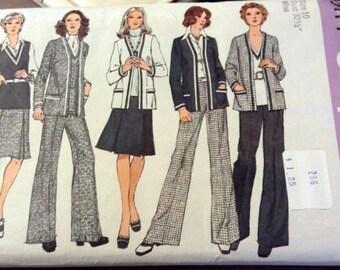 Vintage 70's Sewing Pattern Simplicity 6114 Misses' Coordinates Size 10 Bust 32.5 Uncut Complete