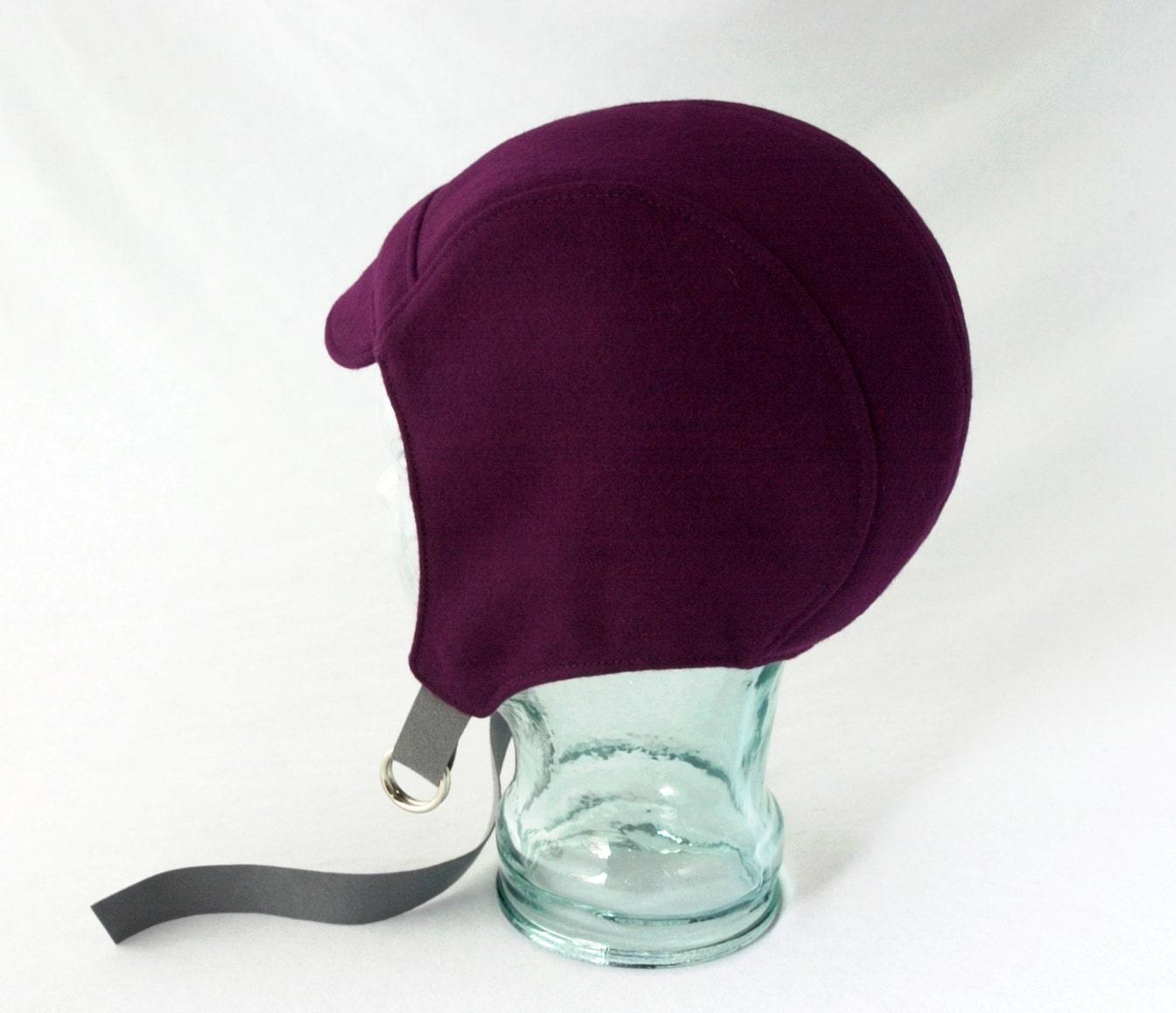 purple wool aviator hat womens hats by rocksandsalt