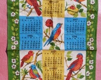 1972 vintage birds dish towel