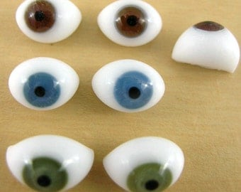1 Pair 6mm or 8mm or 10mm or 12mm and 14mm to 22mm Glass Eyes Oval Pinch Back for Dolls, Sculpture, Ooaks, Choose Size and Color  (OV-1)