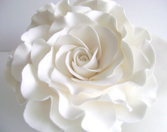 White Rose Cake Topper Flower Cake Topper Wedding Cake Flower Floral Wedding Cake Topper Clay Wedding Cake topper
