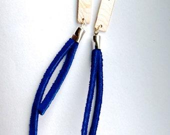 Rectangle Patterned Bronze- Leather Tassel Fringe Earrings in Deep Blue -  Medium Length