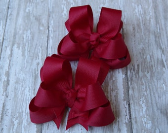 """Girls Hair Bows Cranberry Red Boutique 3"""" Double Layer Hairbows Set of 2 Pigtail Bows"""