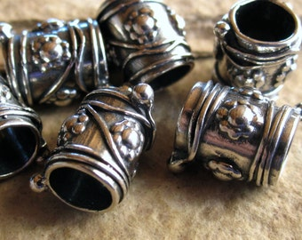 Flower Metal Wrap Tube Beads - Solid Sterling Silver - 5 - large holed 5mm