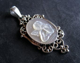 Victorian Cherub Pendant encased in solid sterling silver - 48mm X 20mm