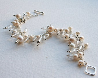 Sterling Silver Pearl Crystal Wishing Star Charm Bracelet