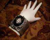 Silver Cameo Cuff Bracelet Black Onyx, Black Onyx Bracelet, Silver Onyx Bracelet, Victorian Bracelet