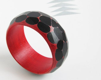 Faceted Wood Bracelet, Modern Jewelry, Wooden Geometric Bangle, Red & Black,  medium-large