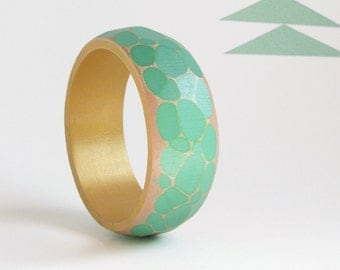 Faceted Wood Bracelet, Modern Geometric Bangle, Wooden Jewelry, Sea Green & Gold, Faceted Bangle, medium-small