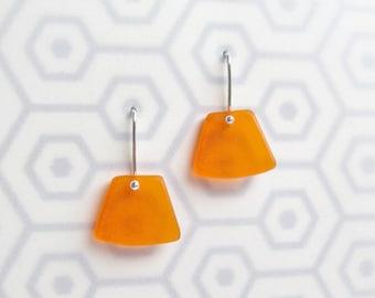 Plexiglass Earrings, Modern Plexi, Geometric Jewelry, Tangerine Orange, Sterling Silver Ear Wires, Fan Earrings, Drop Earrings