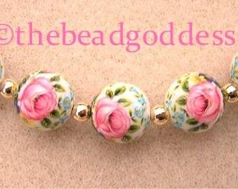 5 Beautiful Japanese Tensha Beads PINK ROSE WHITE 12mm