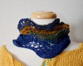 Handspun Handknit Lace Cowl Headwrap - Nature Inspired, Rust and Blue, Navy. Merino Wool, Linen, Handspun Handknit Headwrap. Boho, Hippie.