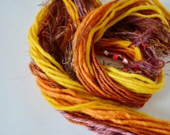 Autumn Yarn Art Fringe Kit, Yarn Bundle for Fiber Arts, Scrapbooking, Creative Gift Wrap, Crafts. DIY Yarn Kit, 20+ Yds. Set 3, Orange, Red
