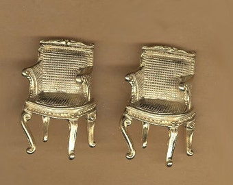 vintage button, Louis XVI chair shape, metal shank, very 3D button articulated chair button