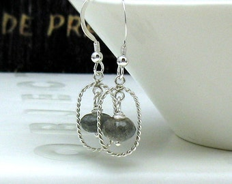 Sterling Silver and Labradorite Modern Dangle Earrings Petite Gemstone Earrings, for her under 55