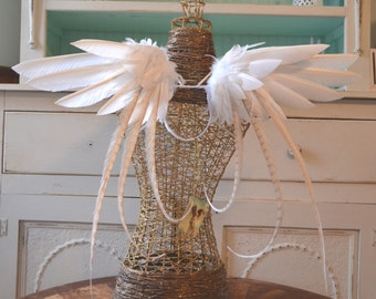 Feather Wings White with Ivory Accents Made to Order