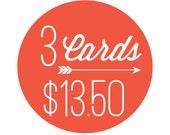 3 Letterpress Cards for 13.50