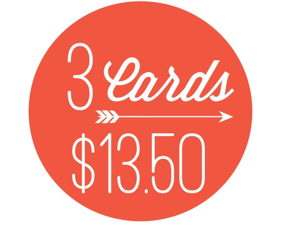 3 Letterpress Cards for 13.50