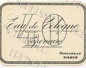 French Perfume Label Paris Parfumerie Classic Black and White