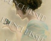 Lady in the Light with Blue Butterfly created from altered antique postcard Digital Printable