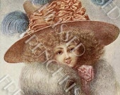 Frizzy Hair Girl with Huge Blue Feather Hat Altered Antique Postcard Digital Printable