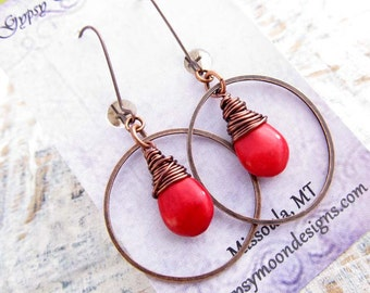 Bohemian earrings Red earrings 7th Anniversary copper earrings rustic hoop earrings Boho jewelry