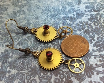 Real Steampunk handmade earrings vintage Clock & watch parts-   Mechanical Romance