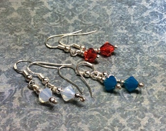 SUPER SALE set of 3 sterling and crystal earrings for only 16 bucks