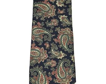 Vintage 1990s 90s Bert Pulitzer Blue Paisley Print All Silk Necktie Made in USA