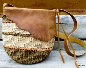 Handwoven Natural Basket Bag with Distressed Leather by Stacy Leigh Ready to Ship