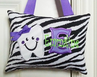 Tooth Fairy Pillow - Zebra with Purple