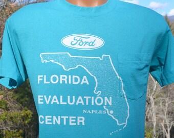 80's vintage t-shirt FORD auto naples florida car pocket tee shirt Medium teal