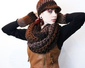 SET The Favorite Cowl Hood scarf Fingerless Glove vegan canadian ball cap Hat Wood black brown taupe
