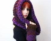 AIR Rasta Love Cowl Hood Vegan scarf eternity Eggplant Purple Brown Black