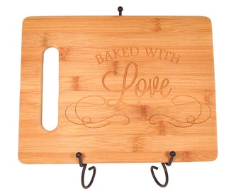 Baked With Love Engraved Wooden Cutting Board - Bamboo Cutting Board