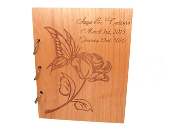 Butterflly Rose Wedding Guest Book Photo Album LARGE SIZE - Real Wood Covers Personalized