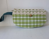 Wristlet by Tiny Marie Plaid Check Cotton Green Lace
