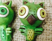 Set of Two Green and Brown Woodland Owl Ornaments