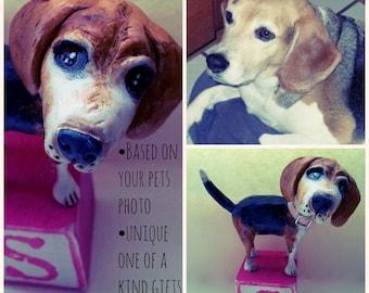 Customize your Dog Puppy Pooch Mans best friend clay folk art sculpture