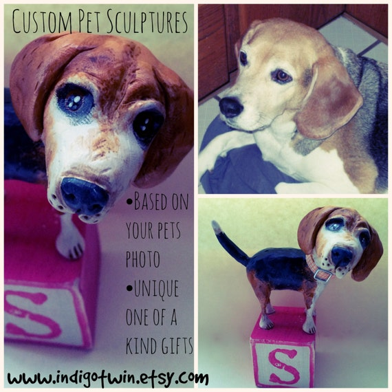 Customize your Dog Puppy Pooch Mans best friend clay folk art sculpture
