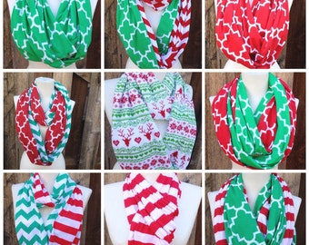 Christmas Infinity Scarves, Red & Green Christmas Scarves, stripes, chevron, quatrefoil, Wide and Long, Cotton Knit Jersey, Teen Scarf