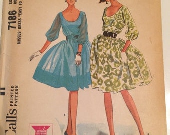Adorable Vintage 1964 McCall's Dress Pattern 7186 Size 10 Bust 31